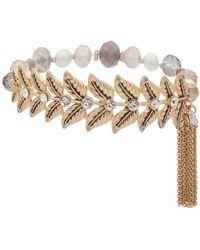 Lonna & Lilly - Faux Pearl & Crystal Leaf Charm Bracelet - Lyst
