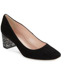 Kate Spade - Dolores Square Toe Suede Heels - Lyst