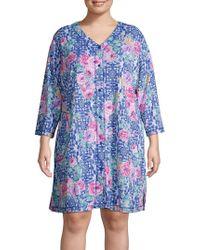 Miss Elaine - Plus Floral Printed Sleepshirt - Lyst
