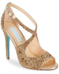 Betsey Johnson - Sage Embellished Satin Ankle-strap Sandals - Lyst