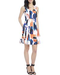 Ellen Tracy - Abstract Watercolor Fit-and-flare Dress - Lyst