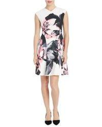 Ellen Tracy - Flared Painterly Floral Sheath Dress - Lyst