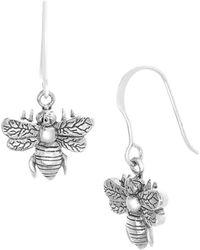 Lord & Taylor - 925 Sterling Silver Engraved Bee Drop Earrings - Lyst