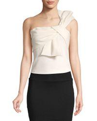 Eliza J - One Shoulder Bow Tie Top - Lyst