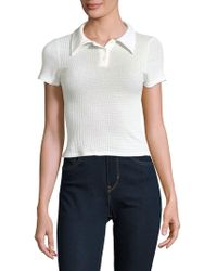 Lord & Taylor - Short Sleeve Cropped Polo - Lyst