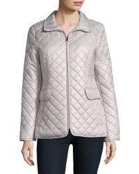 Ellen Tracy - Petite Quilted Zip Front Coat - Lyst