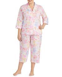 Lauren by Ralph Lauren - Plus Two-piece Cropped Pyjama Set - Lyst