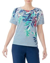 Olsen - Striped Tropical Print Tee - Lyst