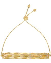 Lord + Taylor 14k Pdc Yellow Gold Beaded Arrow Patterned Bracelet