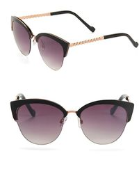 Jessica Simpson - 55mm Link Temple Clubmaster Cat Eye Sunglasses - Lyst