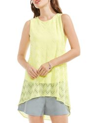 Vince Camuto - High/low Herringbone Lace Blouse - Lyst