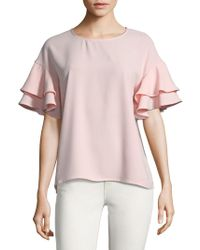 Kensie - Short-sleeve Ruffled Top - Lyst