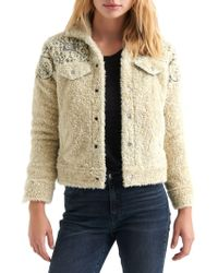 Lucky Brand - Embroidered Faux-shearling Trucker Jacket - Lyst