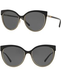 2d4aa542e559 Lyst - Burberry Brit Spark Round 55mm Sunglasses in Black