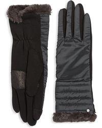 Lauren by Ralph Lauren - Faux Fur-trimmed Puffer Gloves - Lyst