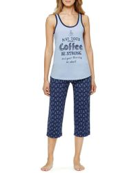 Sleeptease - Plus Tank And Capri Pajama Set - Lyst