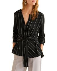 Mango Striped Self-tie Blouse - Black