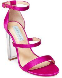 Betsey Johnson - Dafne Satin Chunky Heel Sandals - Lyst