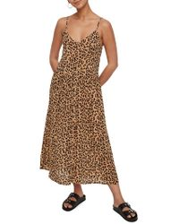 8242b05e287 Vero Moda - Lea Leopard-print Maxi Dress - Lyst