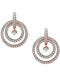 Ak Anne Klein - Rose Goldtone And Crystal Orbital Earrings - Lyst