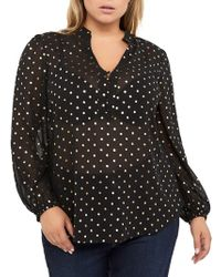 Addition Elle - Plus Foil Printed Balloon-sleeve Pop-over Blouse - Lyst