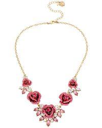 Betsey Johnson - Glitter Rosette Statement Necklace - Lyst