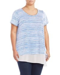 Lord & Taylor - Mock Layer Striped Top - Lyst