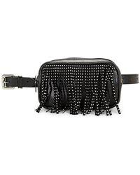 Steve Madden Studded Fringe Belt Bag - Black