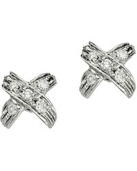 Roberto Coin - 18k White Gold & Diamond X Pave Earrings - Lyst