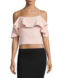 Eliza J - Frill Cold Shoulder Top - Lyst