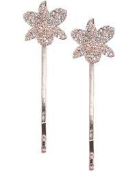 Nina - Chaya Set-of-2 Small Orchid Crystal Bobby Hairpins - Lyst