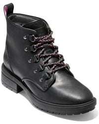 Cole Haan - Briana Grand Lace-up Hiker Leather Booties - Lyst