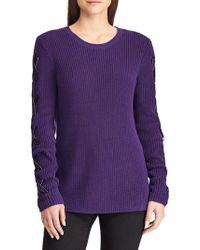 Lauren by Ralph Lauren Petite Lace-up Cotton Sweater