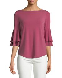 Lord & Taylor - Three-quarter Bell-sleeve Blouse - Lyst