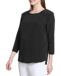 Calvin Klein - Faux Pearl-embellished Blouse - Lyst