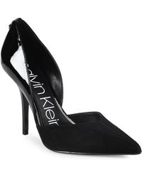 Calvin Klein - Marybeth Suede And Patent Leather D'orsay Court Shoes - Lyst