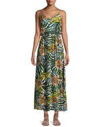 Lord & Taylor - Palm Tie-waist Maxi Dress - Lyst