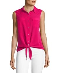 Jones New York - Sleeveless Tie Front Blouse - Lyst