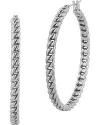 Lucky Brand - It Girl Silvertone Chain-link Hoop Earrings - Lyst