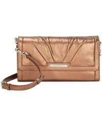 Donna Karan - Metallic Flap Leather Shoulder Bag - Lyst