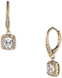 Anne Klein - Pave Cubic Zirconia Square Drop Earrings - Lyst