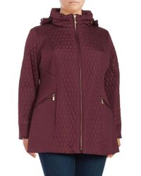 Ellen Tracy - Plus Mixed Quilted Barn Coat - Lyst