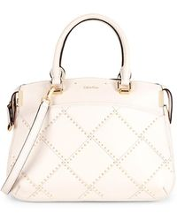 Calvin Klein - Raelyn Stitched Studded Top Handle Bag - Lyst