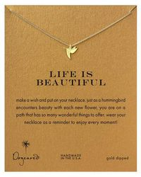 Dogeared - Gold Dipped Life Is Beautiful Hummingbird Necklace - Lyst