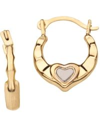 Lord + Taylor - Girl's 14k Yellow And White Gold Heart Huggie Hoop Earrings - Lyst