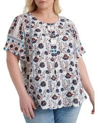 Lucky Brand Plus Printed Roundneck Blouse