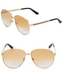 9e0e6988ec2 Lyst - Gucci 63mm Round Sunglasses in Metallic
