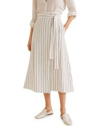 Mango - Striped Wrap Skirt - Lyst