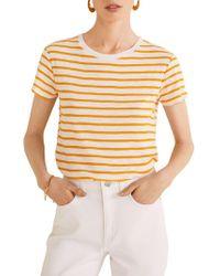 Mango - Striped Cotton Tee - Lyst