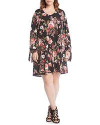 57803641aa35 Boohoo Plus Taylor Long Sleeve Printed Swing Dress - Lyst